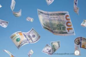 Money Falling Down in a Blue Sky.